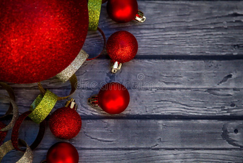Christmas ornaments and garland stock images