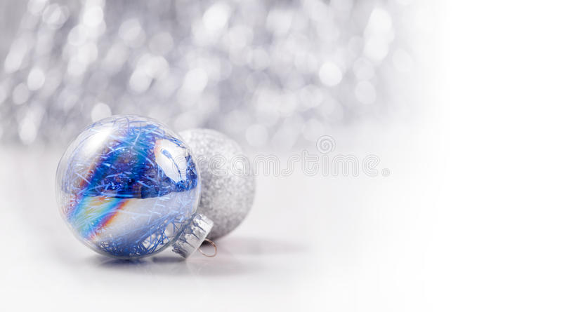 Christmas ornaments on glitter bokeh background royalty free stock image