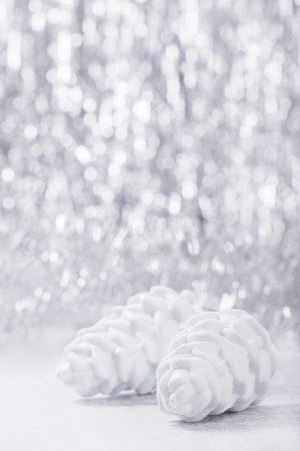 Christmas ornaments on glitter bokeh background stock photo