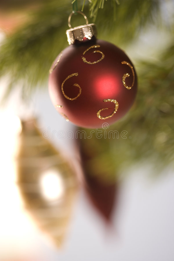 Christmas Ornaments Hanging From Branch. Royalty Free Stock Image