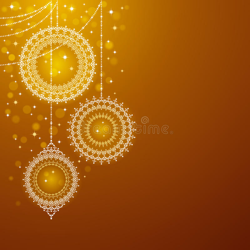 Free Christmas Ornaments On Golden Background Royalty Free Stock Photos - 17212778