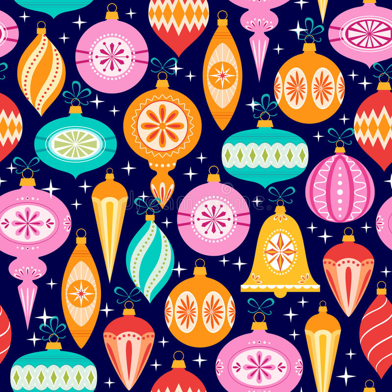 Christmas ornaments pattern on black background stock illustration