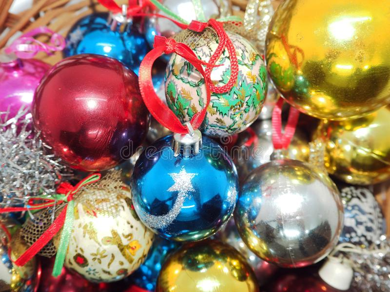 Christmas ornaments ready to hang on a christmas tree stock photography