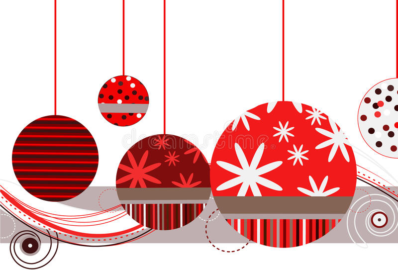 Christmas Ornaments in Red. With abstract design on a white background stock illustration