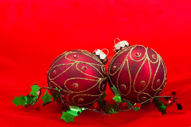 Download Christmas Ornaments On Red Background Stock Photo - Image: 1498128