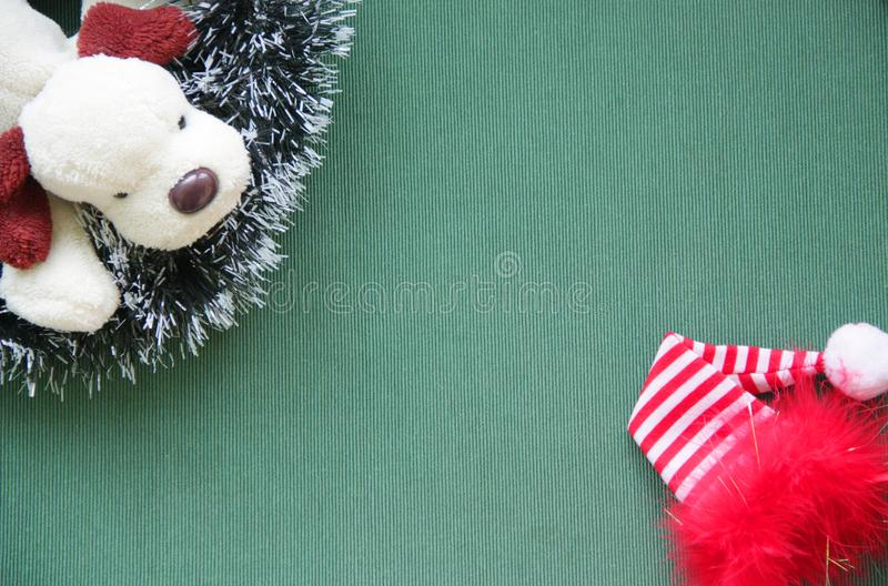 Christmas ornaments, red cap, doggy. 2018. royalty free stock image