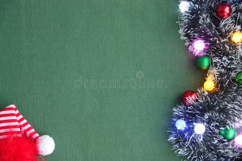 Christmas ornaments, red cap, garland. 2018. stock photo