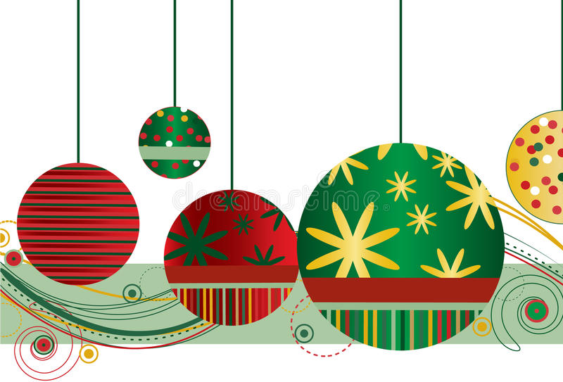 Christmas Ornaments in Red and Green. With abstract design on a white background stock illustration