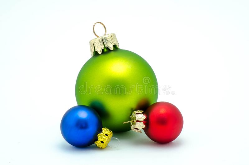 Christmas ornaments - red, green and blue ornaments stock photos