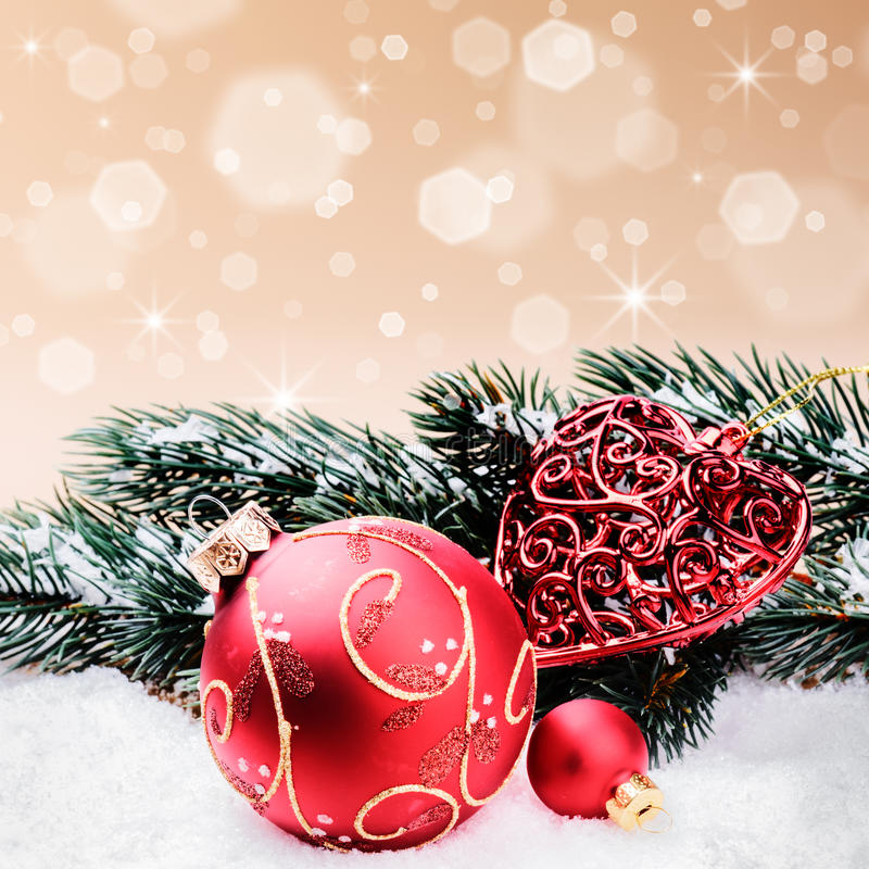 Christmas ornaments in red and green tone stock photo