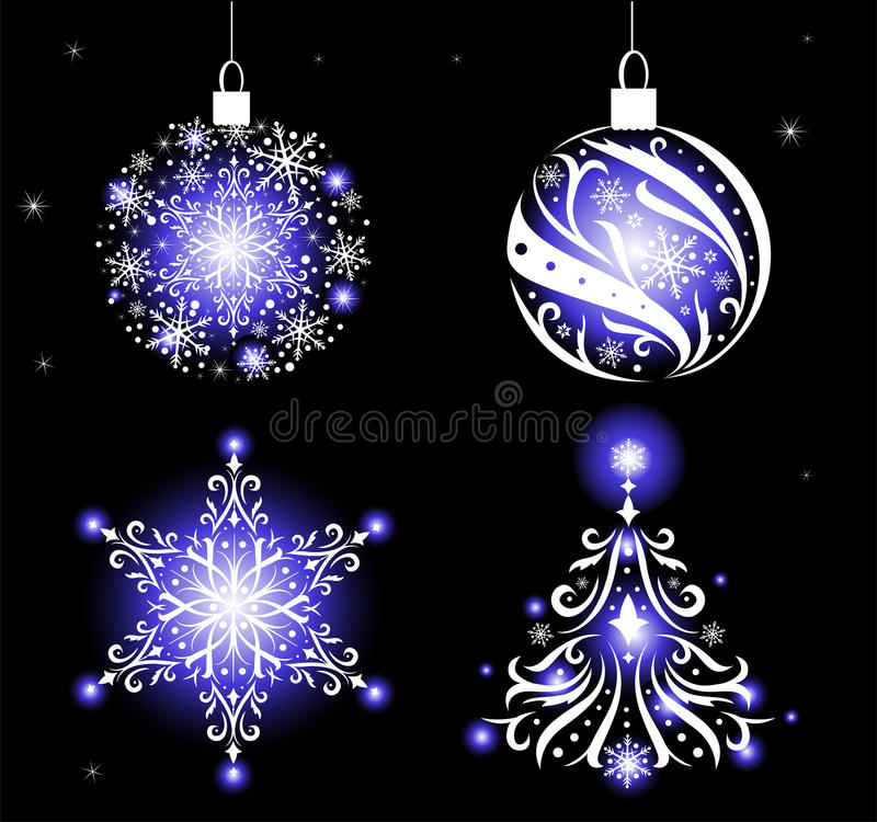 Christmas ornaments. Set of beautiful Christmas ornaments. To create holiday cards, backgrounds, ornaments, decoration royalty free illustration