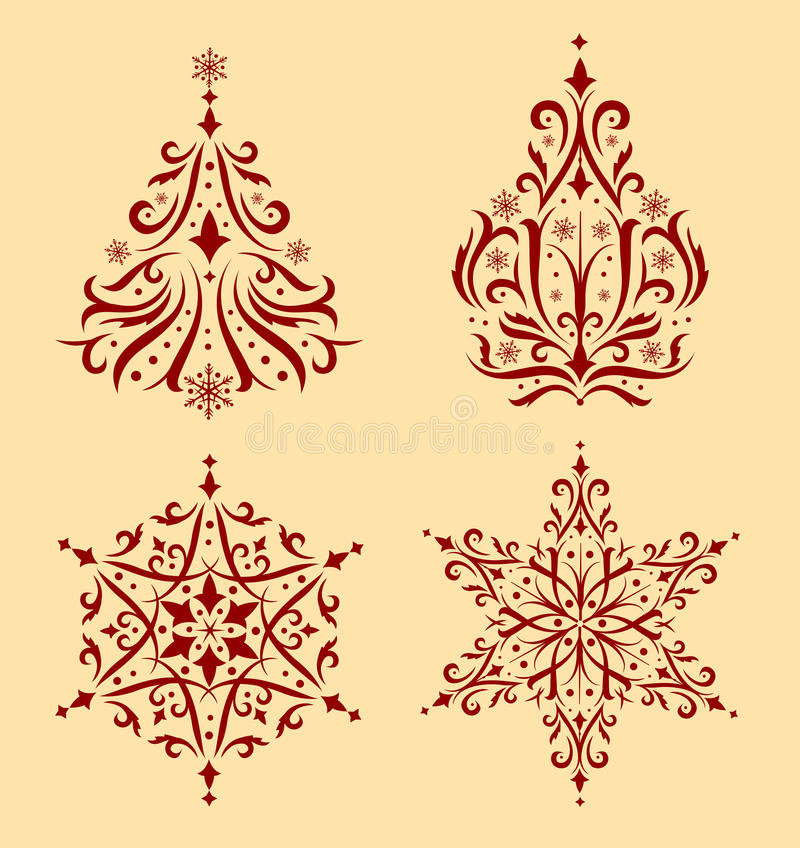 Christmas ornaments. Set of beautiful Christmas ornaments. To create holiday cards, backgrounds, ornaments, decoration vector illustration