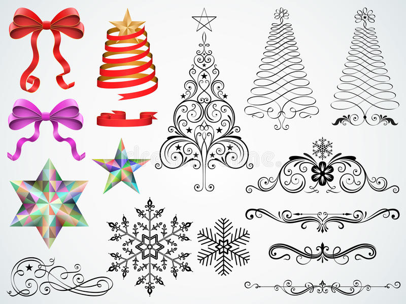 Christmas Ornaments. Set of Christmas ornaments and design elements vector illustration stock illustration