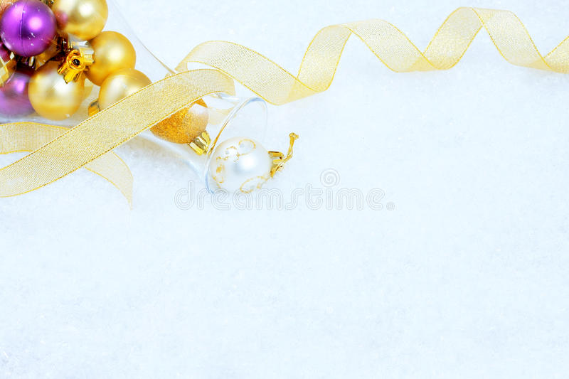 Christmas Ornaments On A Snow Royalty Free Stock Photos