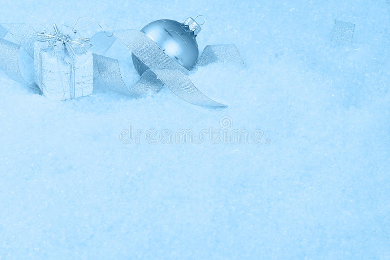 Download Christmas Ornaments On A Snow Stock Photo - Image: 12385998