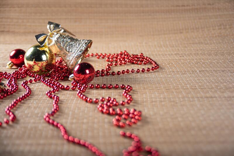 Christmas ornaments on a straw mat in a beautiful arrangement selective focus stock photography