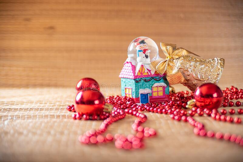 Christmas ornaments on a straw mat in a beautiful arrangement selective focus stock photos