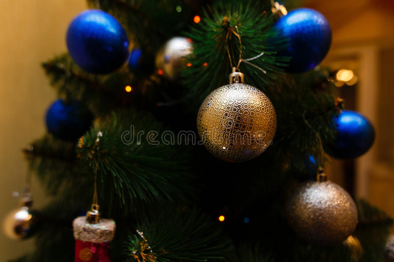 Christmas ornaments on a tree. Decoration traditional stock photography