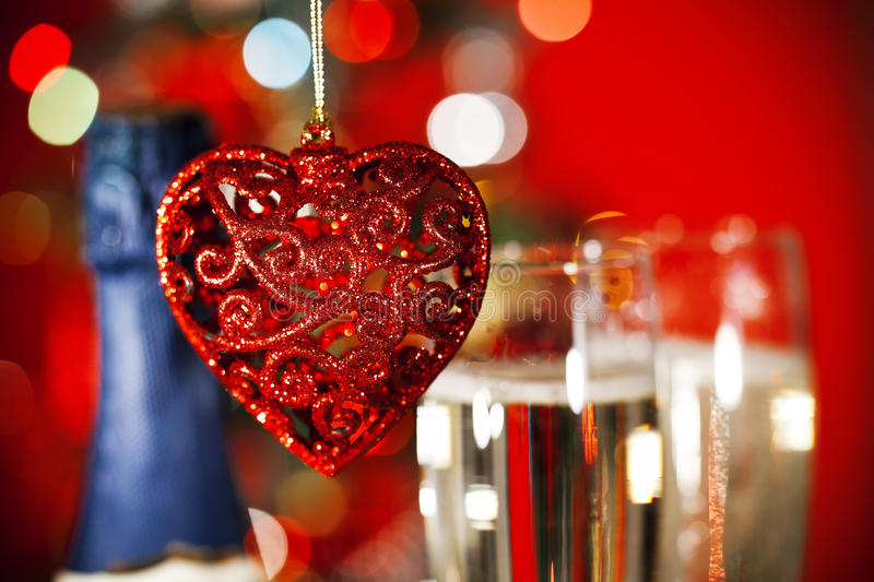 Download Christmas Ornaments And Two Glasses Of Champagne Stock Photo - Image: 22574116