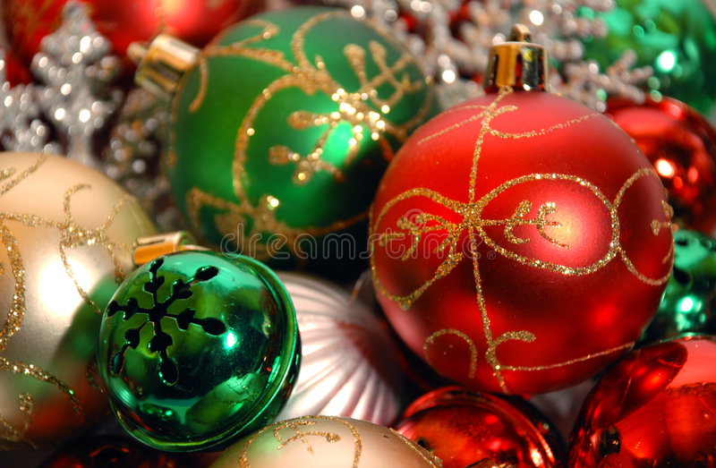 Christmas ornaments on white background royalty free stock image