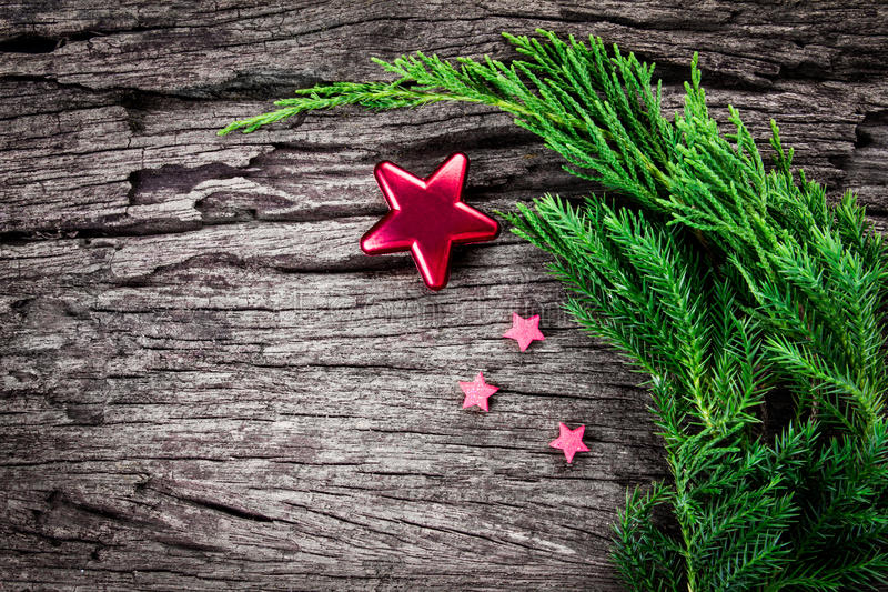 Christmas ornaments on wooden background as frame border with co royalty free stock photography