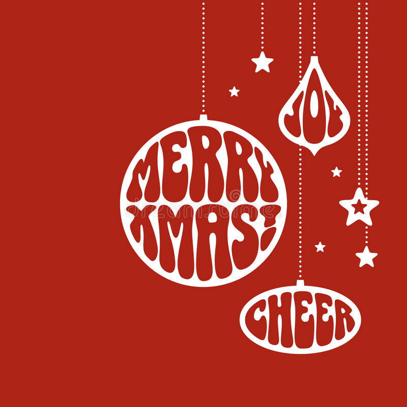 Christmas ornaments with the words. Merry Xmas, Joy and Cheer. Vector illustration in funky style vector illustration