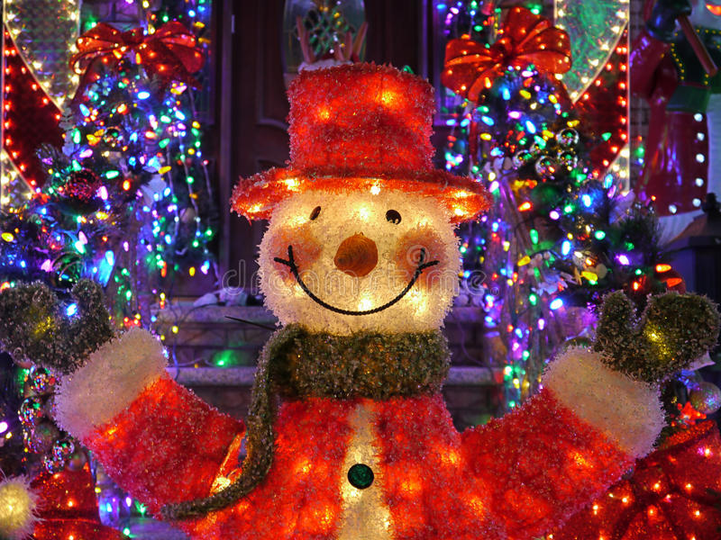 Christmas outdoor christmas decorations snowman lights up house in download christmas outdoor christmas decorations snowman lights up house in brooklyn new york stock aloadofball Choice Image