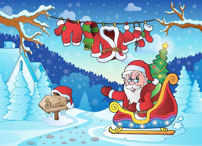 Christmas outdoor theme 4 vector illustration