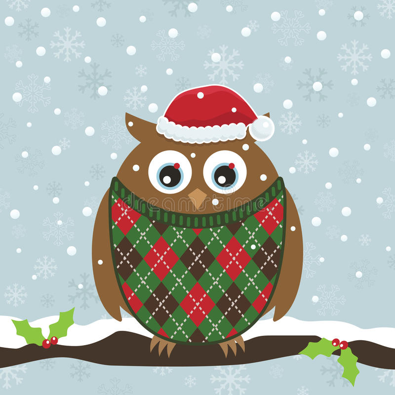 Christmas owl. Snowflake background with owl in christmas sweater and hat royalty free illustration