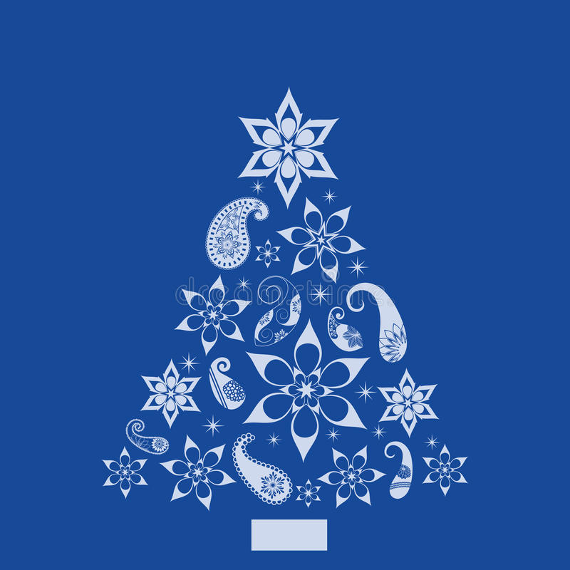 Download Christmas Paisley And Shapes Pine Tree Stock Vector - Image: 14385825