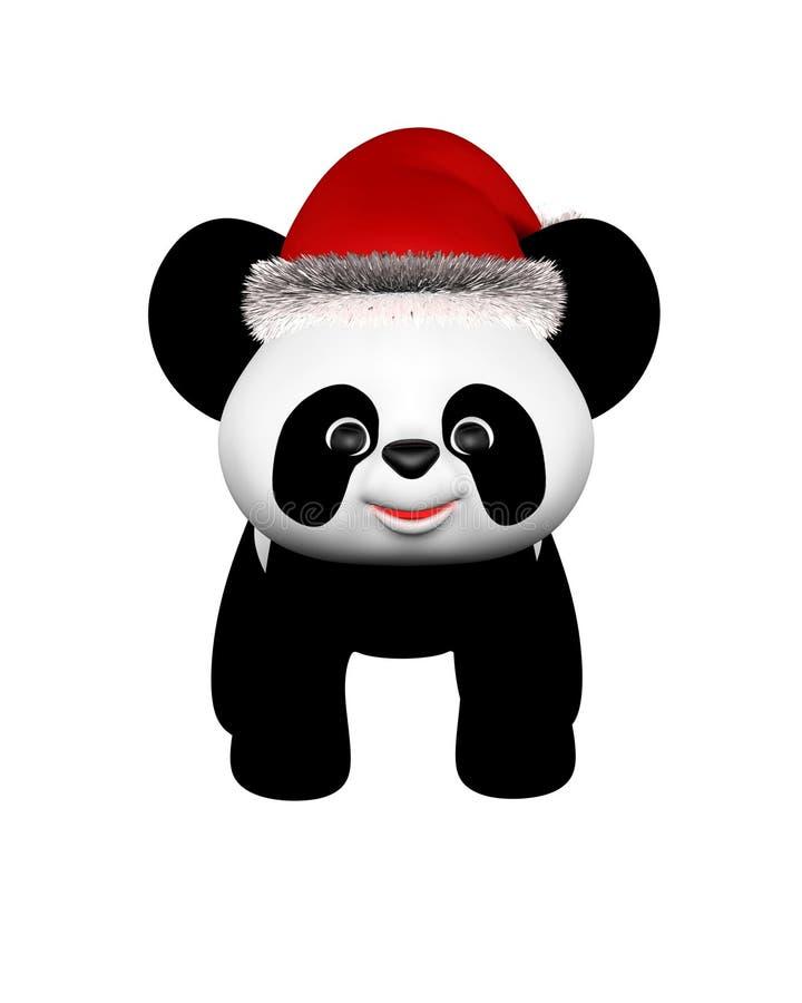 christmas panda with santa hat standing stock image. Black Bedroom Furniture Sets. Home Design Ideas