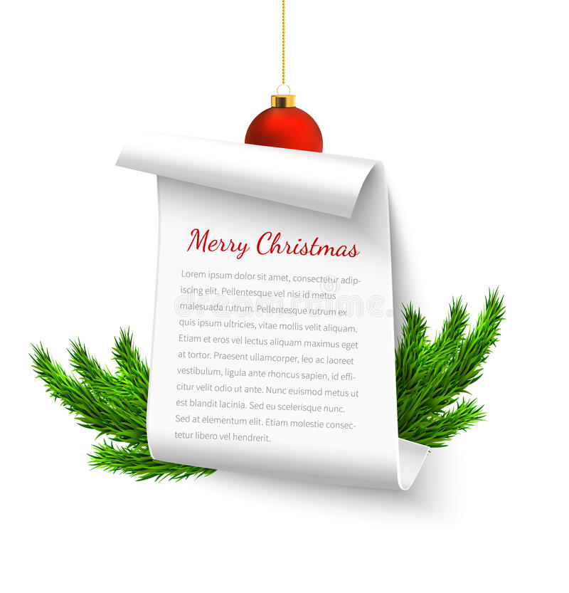 Christmas paper banner. Merry Christmas paper banner, white swirl parchment with christmas tree branshes, realistic vector illustration stock illustration
