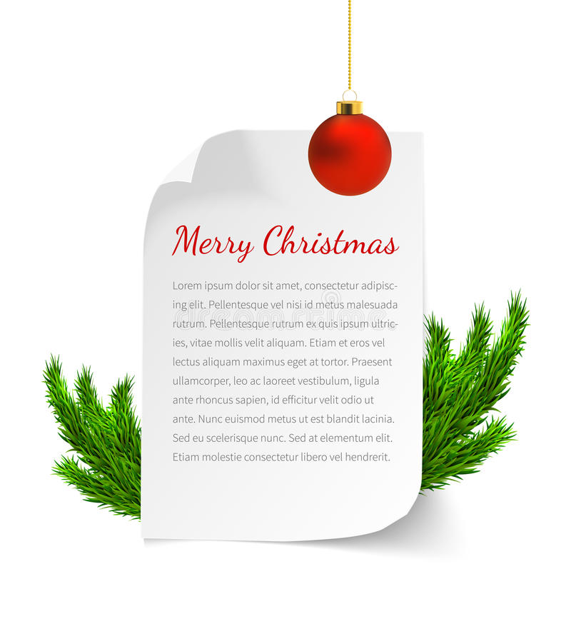 Christmas paper banner. With pine branches and christmas ball. Realistic vector illustration for greeting card, invitation and web sites stock illustration