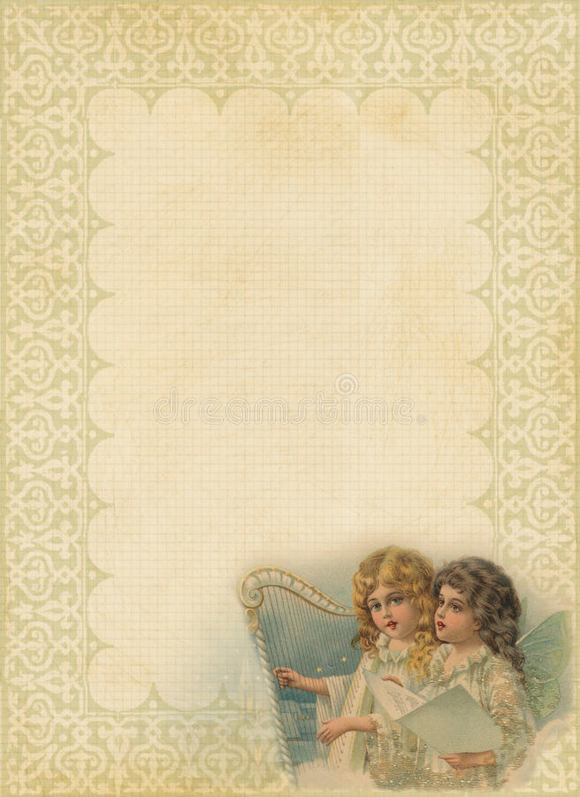 Christmas Paper with fancy frame and angels. Blank textured Christmas background Paper with fancy filagree frame and vignette of Victorian style angels singing royalty free illustration