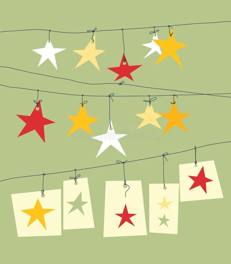 Christmas paper stars stock illustration