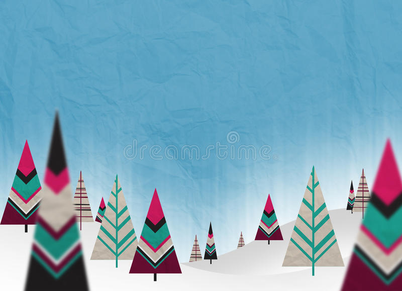 Christmas paper trees. With snow and cuan background vector illustration