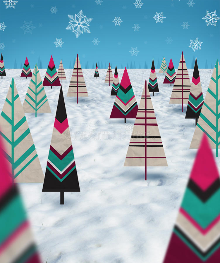 Download Christmas paper trees stock illustration. Illustration of forest - 27146826