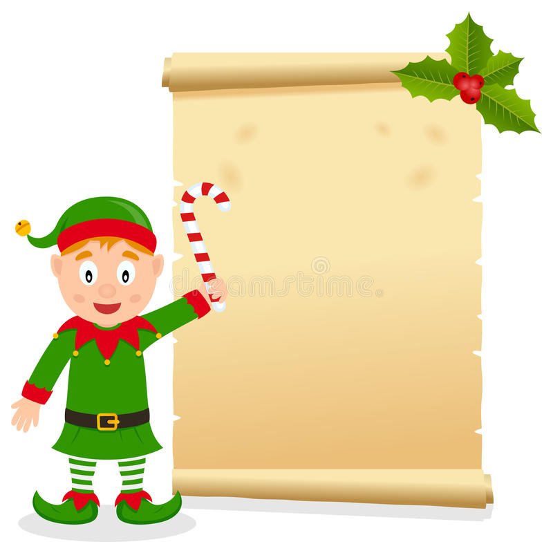 Christmas Parchment with Happy Elf. Christmas invitation card with a funny elf holding a candy cane and an old parchment scroll. Empty space for your message royalty free illustration
