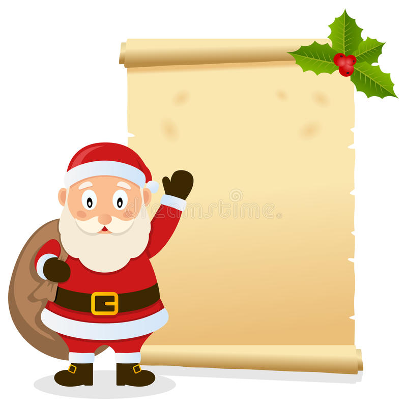 Christmas Parchment with Santa Claus. Christmas invitation card with Santa Claus holding the sack of the gifts and an old parchment scroll. Empty space for your stock illustration
