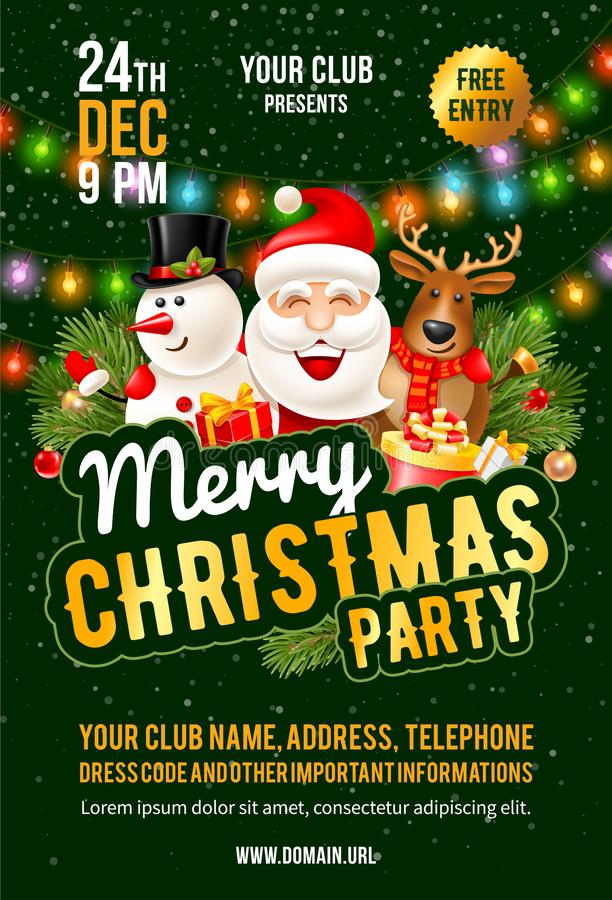 Christmas Party Announcement Template Stock Vector Illustration Of Cartoon Lettering 129362510