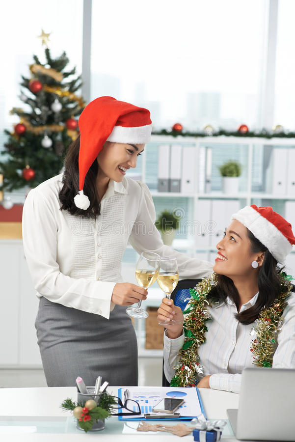At Christmas party stock image