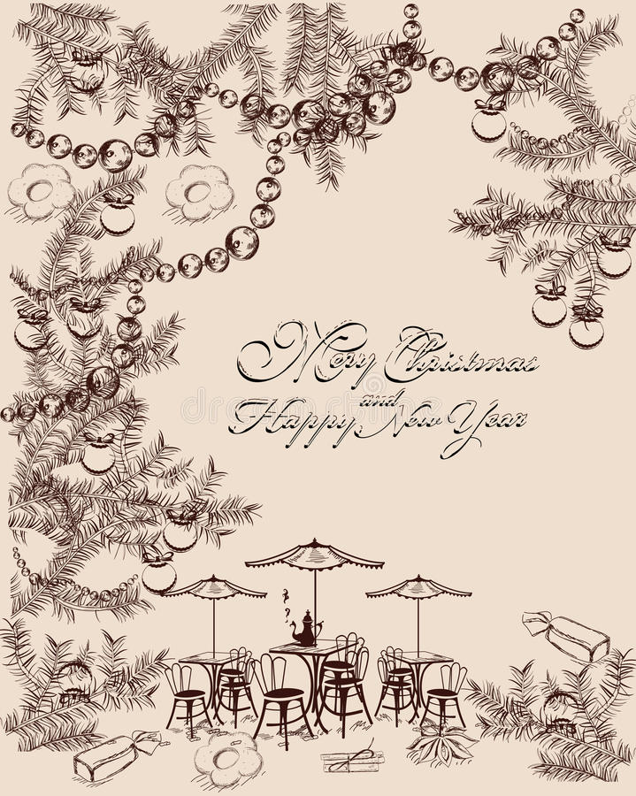 Christmas party background with sweets and cakes, cafe views. Hand drawn vector sketch. stock illustration