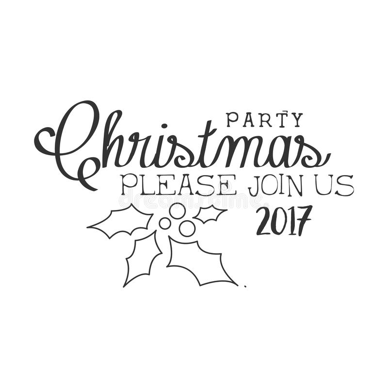 2017 christmas party black and white invitation card