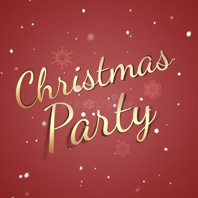 Christmas party card - retro decoration - holiday invitation - party red backdrop royalty free stock photography
