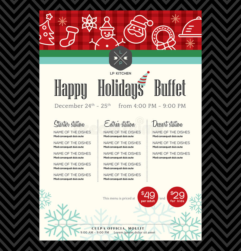 Christmas party festive restaurant menu design stock illustration