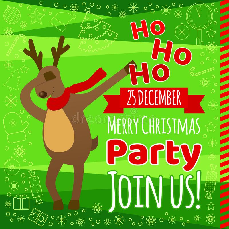 Christmas party flyer card with typography, funny reindeer dabbing, quirky cartoon style. royalty free illustration