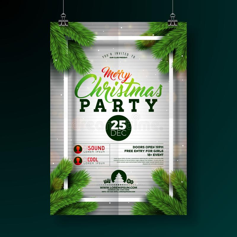 Christmas Party Flyer Illustration with Typography Lettering and Pine Branch on White Background. Vector Holiday stock illustration