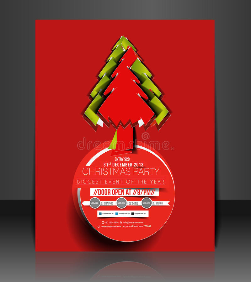Christmas Party Flyer. & Poster Cover Template stock illustration