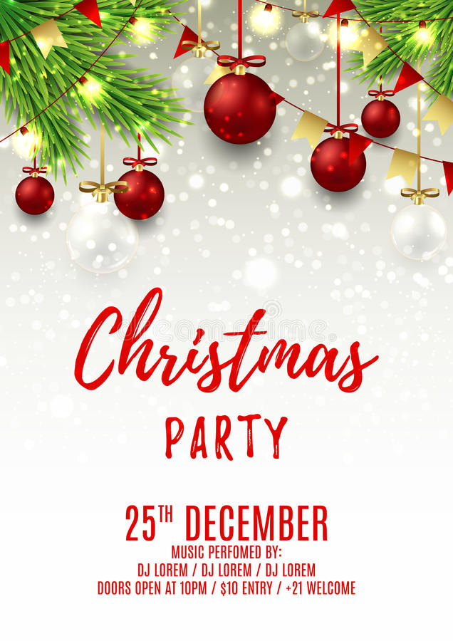 Christmas Party Flyer Template Stock Vector Illustration Of Merry