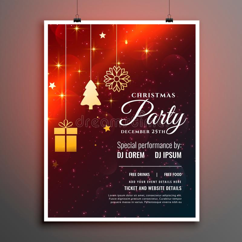 Christmas party flyer template with invitation detail 向量例证